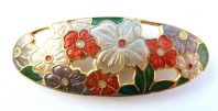 Vintage Large Sea Gems Oval Shaped Cloissone Enamel Flower Brooch.